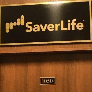 Nameplate of the SaverLife office